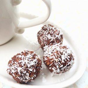 Keto Christina chocolate almond coconut fat bombs